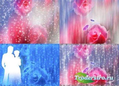 Романтический многослойный PSD - фон с розой