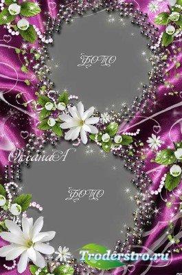Рамка на 8 марта На перламутре серебристых бусин земные звезды - белые цвет ...