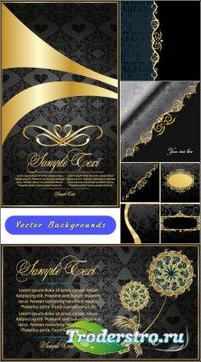 Черные открытки с тонкими золотыми кружевами (Вектор)