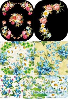 Цветочные живописные паттерны (Вектор)