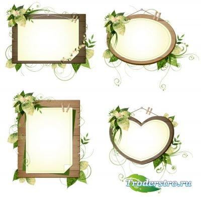 Сердечные овальные рамки на деревянной основе (Вектор)
