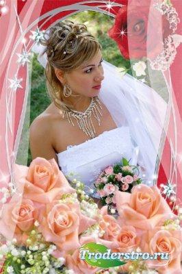 Фоторамка - Романтическая. Розовые розы