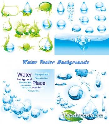 Водяные капли эко фоны (Вектор)