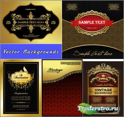 Желтые роскошные винтажные фоны с узорами (Вектор)