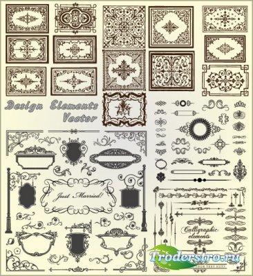 Рамки вывески и каллиграфические элементы (Вектор)