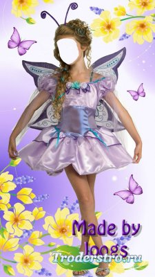 Шаблон для фотомонтажа - Девочка с бабочками и цветами.