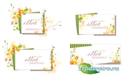 Весенние рамки с оранжевыми цветами (Вектор)