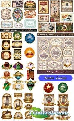 Коллекция винтажных лейблов этикеток и меню (Вектор)
