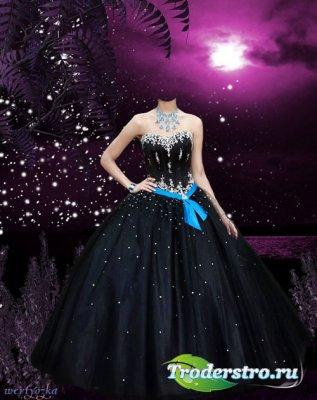 Женский psd шаблон - Девушка в черном платье на фоне волшебного заката