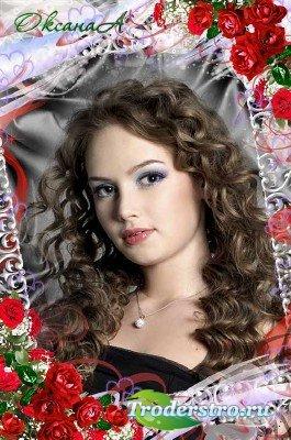 Цветочная рамочка для фото – Обаяние красных роз