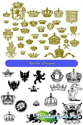 Коллекция зеленые и черные короны (Вектор)