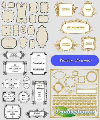 Золотые и пригласительные рамки винтажные баннеры (Вектор)