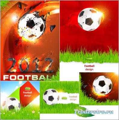 Футбольные фоны с огненным мячом (Вектор)