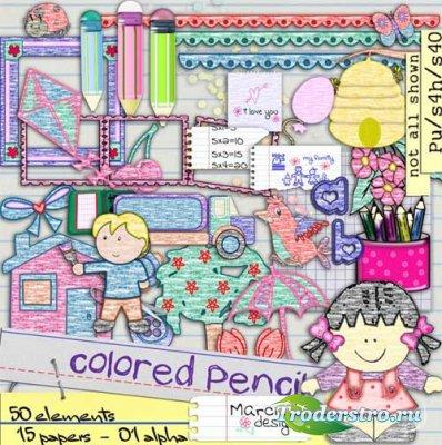 Скрап-набор - Цветные карандаши. Scrap - Colored Pencil