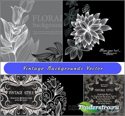 Черно-белые винтажные цветочные фоны и рамки (Вектор)