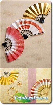 Большая коллекция японских вееров