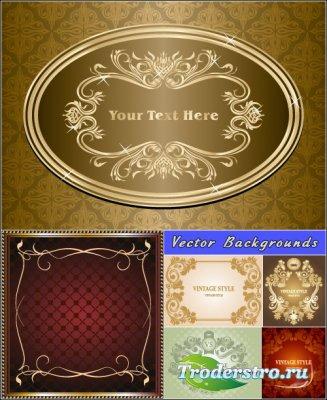 Роскошные фоны с рамками винтажном стиле (Вектор)