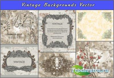 Серые винтажные фоны с рамками и цветами (Вектор)
