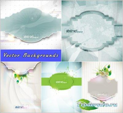 Абстрактные фоны с рамками и зелеными листьями (Вектор)