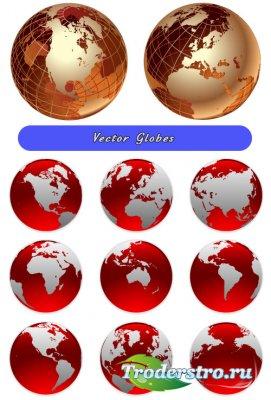Золотые и красные глобусы (Вектор)