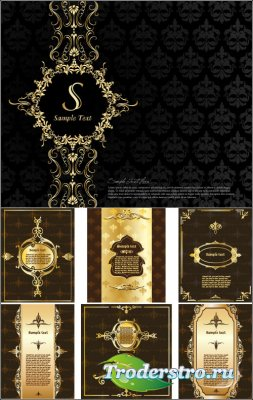 Коричневые черные обложки с золотыми узорами (Вектор)