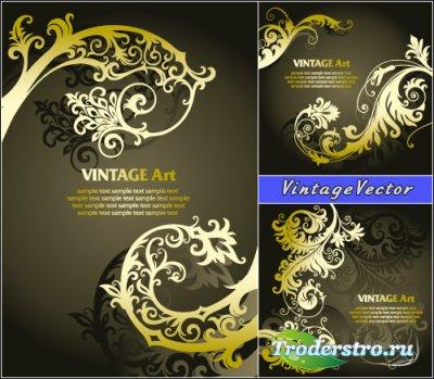Винтажный дизайн с желтым цветочным узором (Вектор)