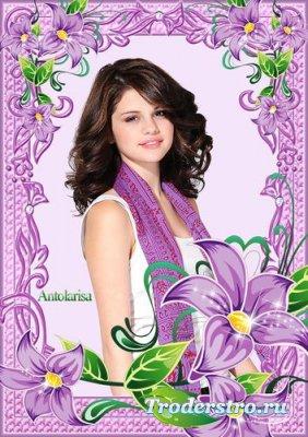 Фиолетовая рамочка для фото – Лилии