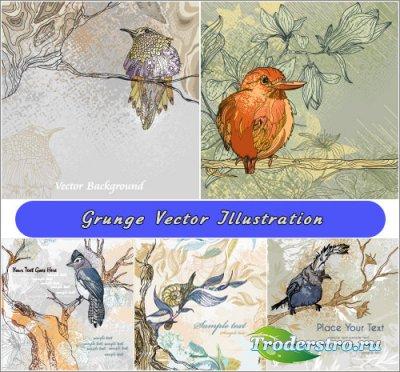 Птицы прилетели - Гранжевые фоны (Вектор)