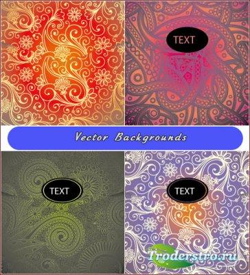 Цветные фоны с узорами пейсли (Вектор)
