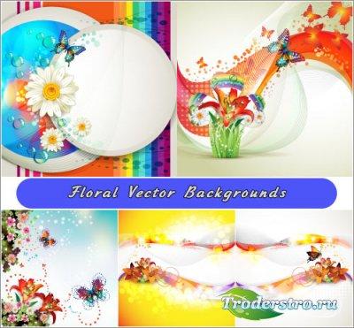 Летние фоны ромашки радуга бабочки (Вектор)