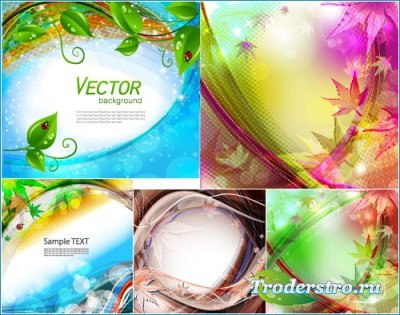 Природные абстрактные фоны с листьями (Вектор)