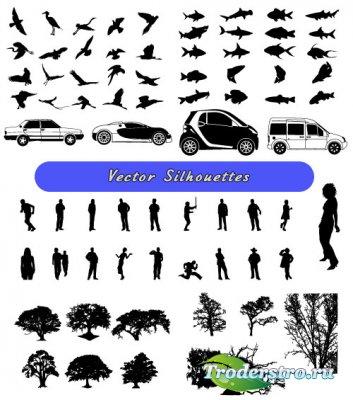 Силуэты птицы рыбы люди деревья машины (Вектор)