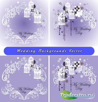 Свадебные фоны с белыми узорами (Вектор)