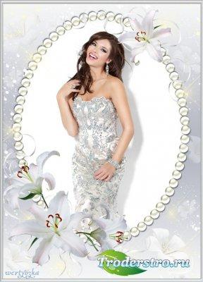 Цветочная рамка для фото - Волшебное благоухание прекрасных белых лилий