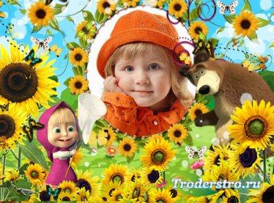Детская фоторамка - Маша и бабочки