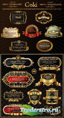 Золотые орнаменты рамки с лепестковыми краями (Вектор)
