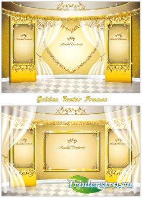 Золотые рамки с кружевами и белым занавесом (Вектор)