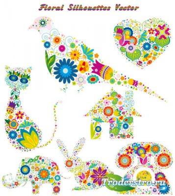Силуэты из цветов - Голубь заяц сердце кошка (Вектор)