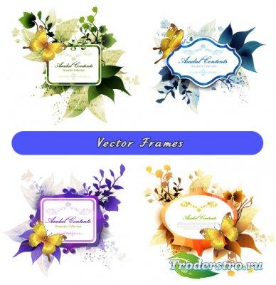 Цветные рамки с листьями и золотыми бабочками (Вектор)