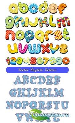 Детские латинские буквы и цифры алфавит (Вектор)