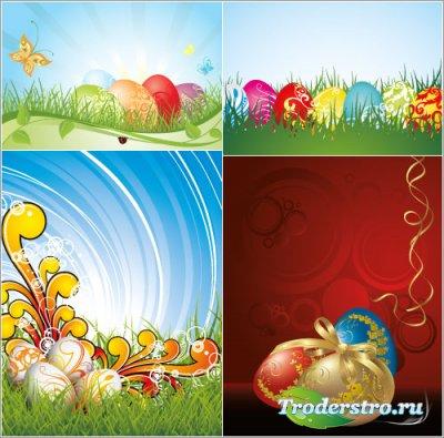 Цветные и золотые яйца с бантиком на траве (Вектор)
