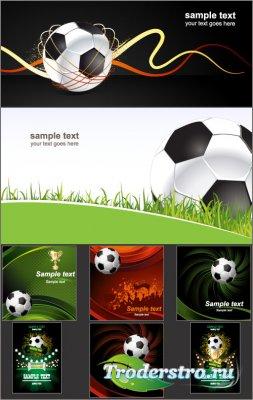 Футбольные фоны постеры с мячом и кубком (Вектор)