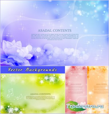 Фиолетовые зеленые оранжевые абстрактные фоны с цветами (Вектор)
