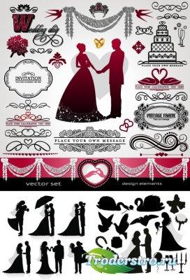 Свадебные элементы и силуэты голуби лебеди жених невеста (Вектор)