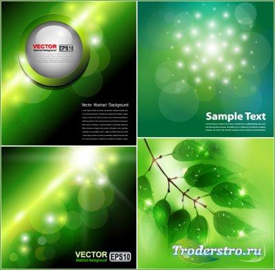 Зеленые фоны ветка с зелеными листьями (Вектор)