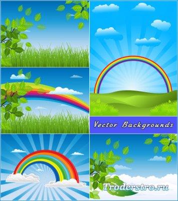 Летние фоны с радугой голубое небо зеленые листья (Вектор)
