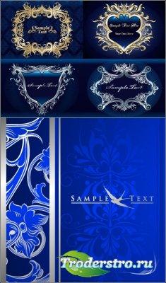 Синие золотые серебряные орнаменты фоны (Вектор)