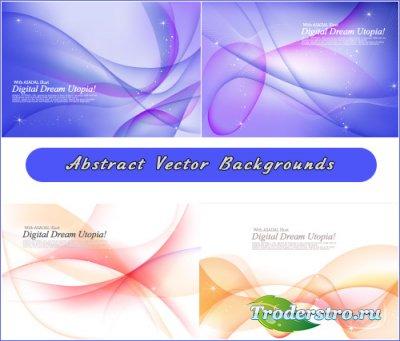 Голубые и белые фоны с абстрактными волнами (Вектор)