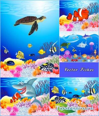 Мультяшный подводный мир рыбы черепахи (Вектор)
