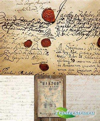Винтажные фоны - рукописи с печатями (HQ)